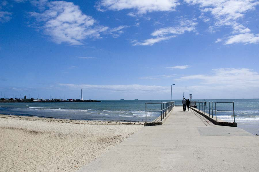 St. Kilda, a beach located 7 km southeast of the city center of Melbourne, Australia.